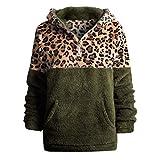 Xuthuly Winter Frauen Mode Leopardenmuster Patchwork Plüsch Warme Sweatshirt Tops Mit Tasche Damen Casual Langarm Reißverschluss Mit Kapuze Pullover Bluse