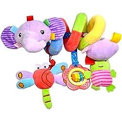 YeahiBaby Bebé Infantil Cuna Juguete Colgando Sonajeros Espiral Cochecito Juguete Educativo Juguetes de Peluche (Elefante)