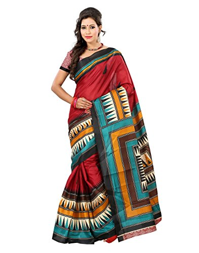 Lookslady saree for woman with unstitched blouse Maroon, Turquoise, Beige color Bhagalpuri-Khadi Fabric Home Use Geometric Print  available at amazon for Rs.375