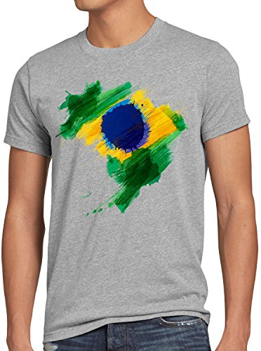CottonCloud Flagge Brasilien Herren T-Shirt Fußball Sport Brazil WM EM Fahne, Größe:XL, Farbe:Grau Meliert