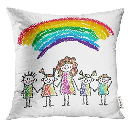 Kissen KissenbezugLehrer mit kleinen Kindern Crayon Drawing Kids Style Kreide Mutter mit Jungen und Mädchen im Kindergarten Decor Square Accent Pillowcase 45x45 cm