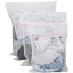 Vivifying Lot de 4 Grands filets à linge durables épais en maille filet avec fermeture Éclair pour vêtements délicats (Blanc)
