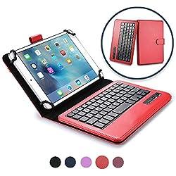 """7-8'' Pouce Tablette étui Clavier, Cooper Infinite Executive 2-en-1 Clavier Bluetooth sans Fil Magnétique Étui Voyage Cuir Porte-Documents + 8-7"""" inch (Rose Rouge)"""
