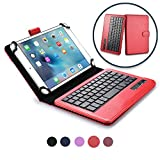Custodia Tablet 7-8 Pollici Tastiera Wireless, Cover Protettiva Cooper Infinite Executive 2-in-1 Tastiera Bluetooth Magnetica Antiurto Windows Android A Libro Pelle Viaggio con Supporto (Rosa)