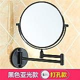 Daadi Space Aluminium Badezimmerspiegel Punch-Free Kosmetikspiegel Teleskop-Kosmetikspiegel zur Vergrößerung des doppelseitigen Spiegels an der Wand, schwarzer Punsch
