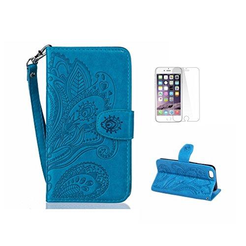 Custodia Iphone 7, con protezione per lo schermo in vetro temperato] antigraffio, fatcatparadise (TM) Custodia posteriore in silicone morbido, elegante vintage Pressed pavone fiore Bloom Motivo magnet Blue