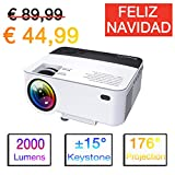ExquizOn Proyector Portátil, T5 2000 Lumens Mini Proyector LCD, soporta 1080P Full HD, Multimedia Home Cinema Video Proyector, HDMI USB Tarjeta SD AV VGA para Cine en Casa TV Juego iPhone Smartphone