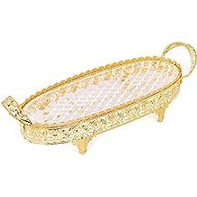 Crystal Compote centro de mesa plato plato con asas Footed frutas bandeja y dorado Metal decoración bodas partes de mesa soporte para tartas postres frutas Candy tazas