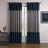 GWELL Luxus Elegant Navy Blau Vorhang Blickdicht Schal mit Ösen TOP QUALITÄT Gardine für Wohnzimmer Schlafzimmer 1er-Pack