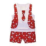 Zylione Kinderkleidung Set Junge Baby Sommer Weste Krawatte Weste + Kinder äRmellose Druck Weste + Shorts Anzug Kindertag Geschenk