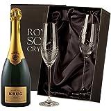 Krug Brut Champagner mit Swarovski Crystal Flutes