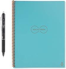 Rocketbook Everlast Wiederverwendbares Notizbuch - Letter A4 - Neptune Teal - Notizen mit der iOS-/Android-App hochladen - Dotted/Blanko Notziblock/Collegeblock/Notizheft