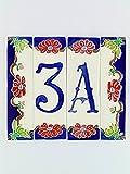 Hausnummern aus Keramik, Hausnummer Keramik Blume, Dübel Keramik NF 3.Dim: Höhe 15cm, Breite insgesamt 17,4cm