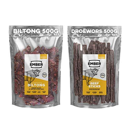Ember Biltong & Droeowors Großpacksack - Beef Jerky Original & Rinderstäbchen - Proteinreicher Snack - 500g Biltong & 500g Droewors (1kg) -