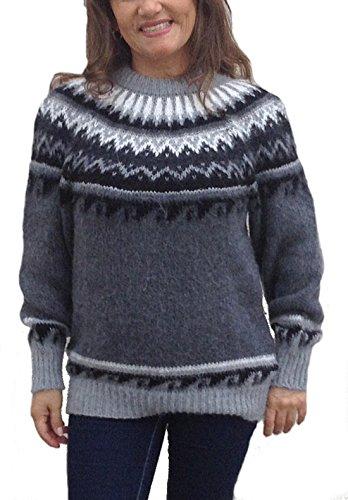 Peruanische Alpaka-pullover (Alpacaandmore Grauer Damen Rundhals Pullover Strickpullover Norweger Stil Alpakawolle (L))