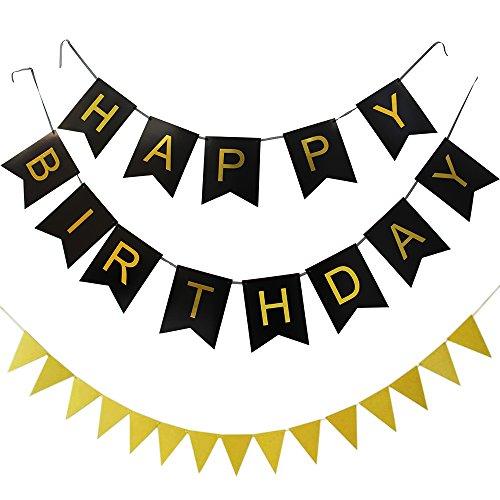 y Alles Gute zum Geburtstag Bunting Banner, Geburtstagsdekorationen mit dreieckiger Flagge(Schwarz Banner Gold Brief) (60 Geburtstag Thema)