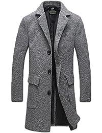 YiJee Abrigo de Invierno de Los Hombres Largo Color Sólido Espeso Outwear