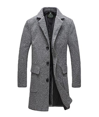 YiJee Homme Manteau D'hiver Single Boutonnage Couleur Solide Grande Taille Lumière Gris