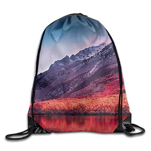Unisex Sierra Nevada Mountains High Sierra Landscape Print Drawstring Backpack Rucksack Shoulder Bags Gym Bag Sport Bag - High Sierra Wheeled Backpack