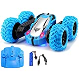 WISHKEY Double Sided 360 Degree Remote Control Rechargeable Stunt Car Toy with LED Lights for Kids (Blue)