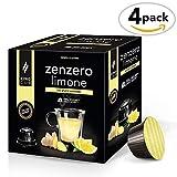 King Cup - zuckerfreier Ingwer-Zitronen-Tee - 4 Packungen x 10 mit Nescafè* Dolce Gusto®*kompatible Kapseln (40 Kapseln)