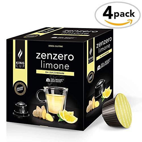 Zuckerfreier Ingwer-Zitronen-Tee - 4 Packungen x 10 mit Nescafè* Dolce Gusto®*kompatible Kapseln (40 Kapseln) -
