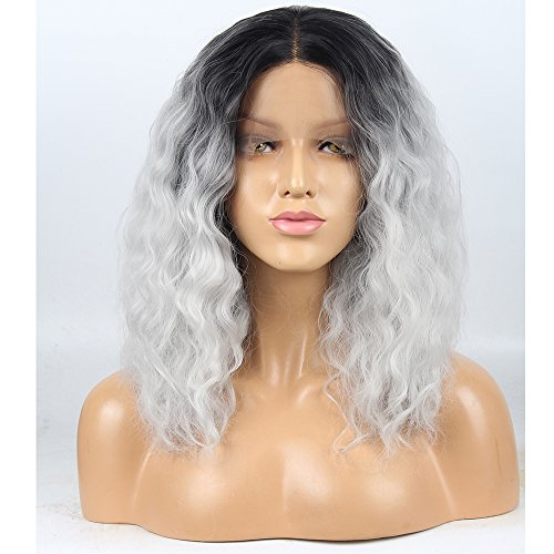 Stylistlee 250% Density 2 Tone Wigs for Women Ombre Gray Synthetic Lace Front Wigs Black Grey Replacement Hair Wigs Curly Wigs For Women Heat Resistant Fiber Hair Half Hand Tied 16 Inches
