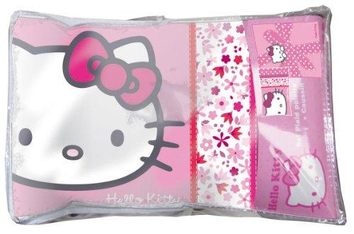 Image of Hello Kitty 38895 Blanket Set 1 Polka-Dot Blanket 130 x 160 cm + 1 Flora Cushion 28 x 42 cm