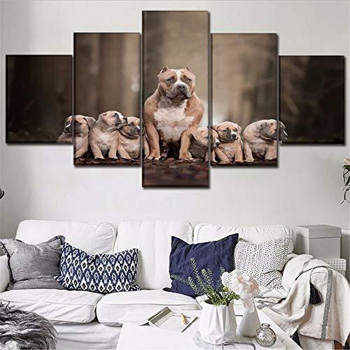 Fbhfbh Wandkunst Hd Drucke Dekoration 5 Stücke Tier Hund Schöne Leinwand Malerei Für Kinder Schlafzimmer Modulare Bilder Kunstwerk Poster, 16X24 / 32/40 Zoll, Mit Rahmen
