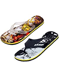 Indistar Boys Step Care Comfortable Flip Flop House Slipper And Hawaai Chappal Office Slipper-PRINTED YELLOW-...