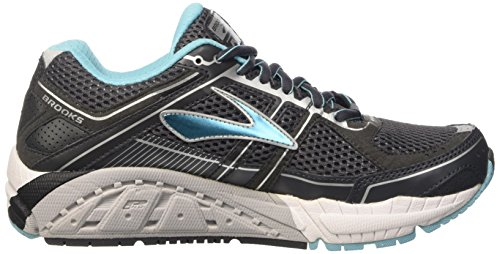Brooks Addiction 12, Chaussures de Running Entrainement Femme Multicolore (Anthracite/bluefish/silver)
