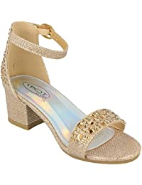 07d047f6aeff Girls Mid Heel Ankle Strap Glitter Wedding Bridesmaid Formal Sandals Shoes  Size 10-2