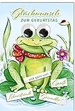 Geburtstagskarte Frosch auf Seerosenblatt mit Wackelaugen, B6 + Umschlag