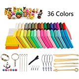 Polymer Clay, 36 Colors Oven Bake DIY Safe and Nontoxic Colorful Soft Moulding Craft Set, with 5 or 14 Sculpture Tool Accessories and Tutorials, Best Gift for kids