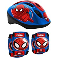 STAMP SAS Combo Spiderman (Helm + Elbow & Knee Pads), Niños, Red and Blue, 5+