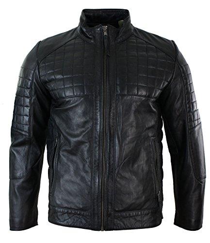 Herrenjacke 100% Echtleder Schwarz Braun Tailored Fit Biker Stil Designer