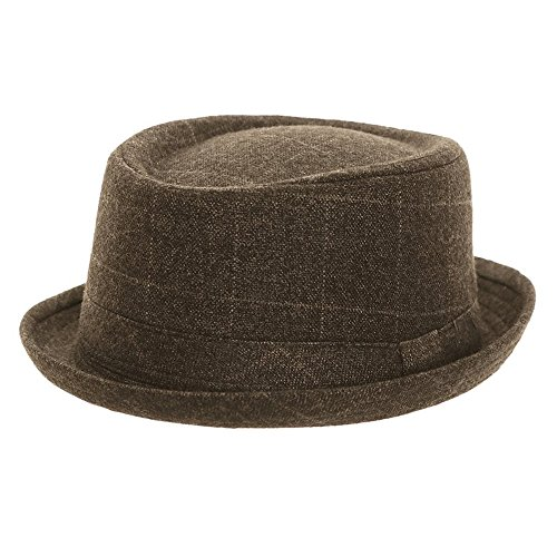 Hawkins Headwear Grey Check Pork Pie H100 (Unisex Mens Ladies) 710fcce40ab