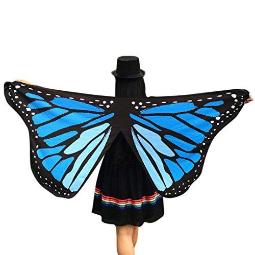 m, Dasongff Frauen Schmetterlingsflügel Schal Schals Damen Nymphe Pixie Poncho Kostüm Zubehör für Fasching Halloween Cosplay Kostüm Zusatz 145×65CM (145*65CM, Blau) (Halloween-kostüme Pin Up)