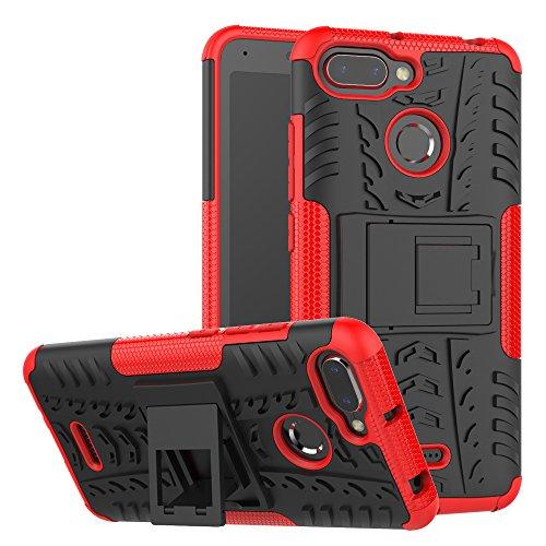 xinyunew Xiaomi Redmi 6/6A Hülle, Handyhülle Case 360 Grad Ganzkörper Schutzhülle+Panzerglas Schutzfolie Schützend Handys Schut zhülle Tasche Cover Skin für Xiaomi Redmi 6/6A Rot
