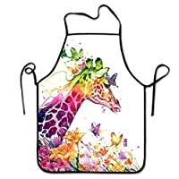 tsyhtshehs Fashion Design Watercolor Magical Giraffe Kitchen Apron,Adjustable Comfortable Cook Aprons for Grill Cooking,Without Pockets