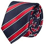 Fabio Farini sportliche 6 cm Krawatte, für jeden Anlass in dunkelblau mit roten und dezenten weißen Streifen