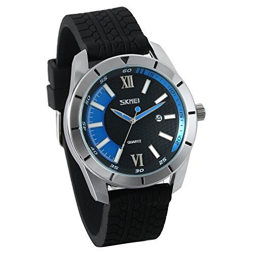 JewelryWe Herren Uhren Analog Quarz Kalender 30m Wasserdichte Männer Armbanduhr Stoppuhr mit Silikonarmband (blau)