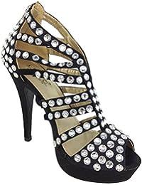 LYDC Ladies Designer High Heel Party Prom Diamante Peep Toe Black Suede Shoes