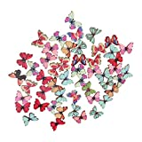 #10: Magideal 50pcs Mixed Shape Drawing Colored Wooden Buttons for Sewing DIY Craft