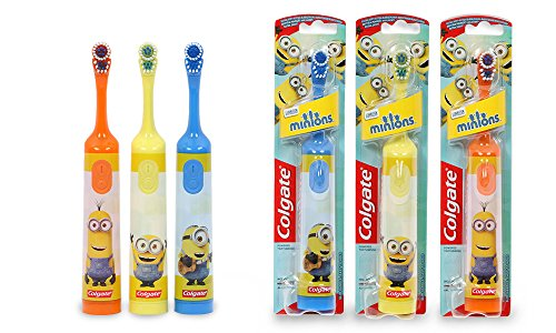 Image of Colgate Minions Kids Battery Operated Toothbrush (Small oscillating head, easy hold handle, 2x AAA Batteries Included) (Yellow)