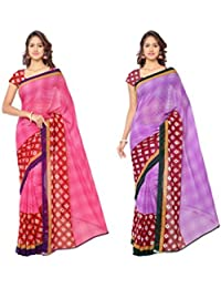 Anand Sarees Women's Faux Georgette Multi Color Printed Combo Saree With Blouse Piece (1115_3_1115_4)