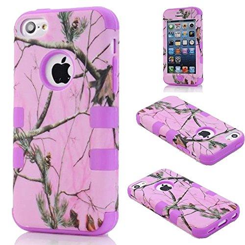 iPhone 5C hülle,Lantier Defender Body Armor Realtree Camo harter Silikon Gummi Military Rugged Schutzhülle Combo mit Camouflage hölzerne Entwurfs Abdeckung für Apple iPhone 5C [Green Tree Schwarz] Pink Tree Purple