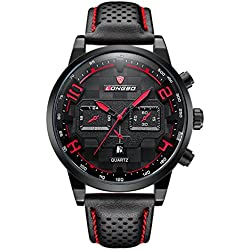 LONGBO Sportive Mens Unique Black Leather Band Military Big Face Watches Orange Index Black Dial Auto Date Day Wristwatches Decorative Chrono Eyes Waterproof Business Analog Quartz Watch For Man