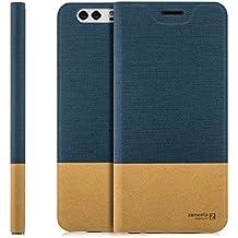 Custodia Huawei Y5 II (CUN-L21) Cover Flip Wallet [Zanasta Designs] Case Copertura con Portafoglio - Pieghevole con Porta Carte, Alta Qualità | Blu
