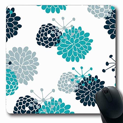 Luancrop Mousepads für Computer Flower Blue Creative Navy Teal Blumensommer Abstract Cute Daisy Fresh Garden Kleine rutschfeste längliche Gaming-Mausunterlage -